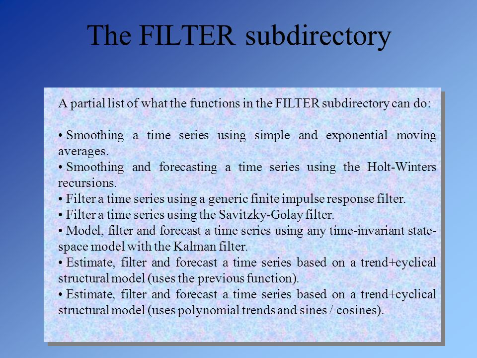 The FILTER subdirectory