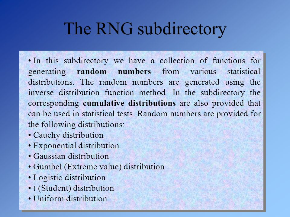 The RNG subdirectory