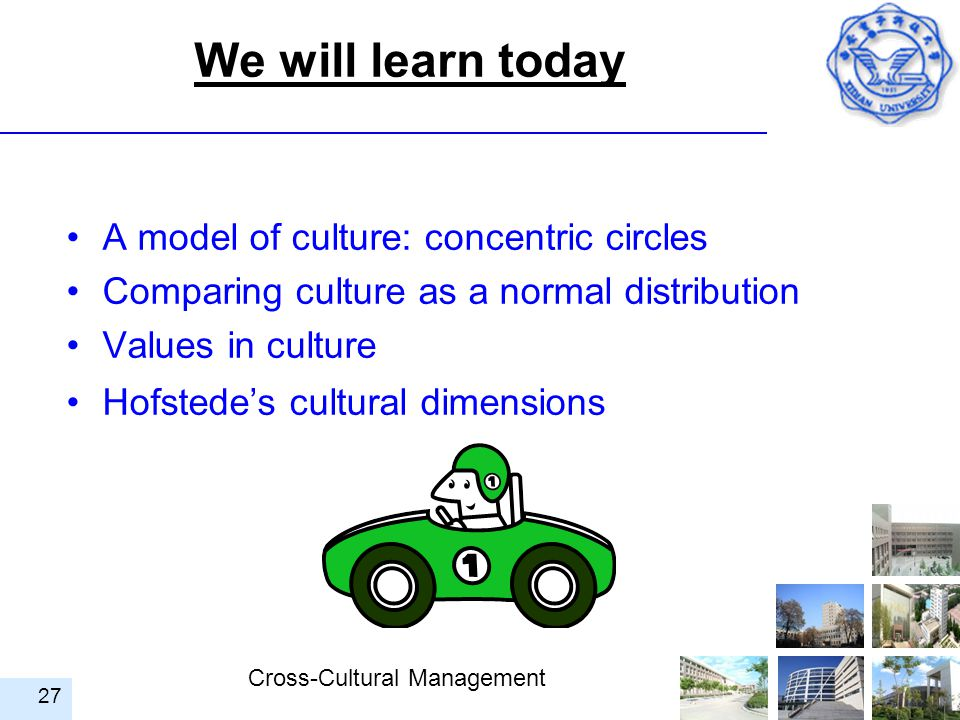 We will learn today A model of culture: concentric circles