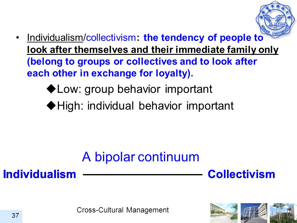 A bipolar continuum Low: group behavior important