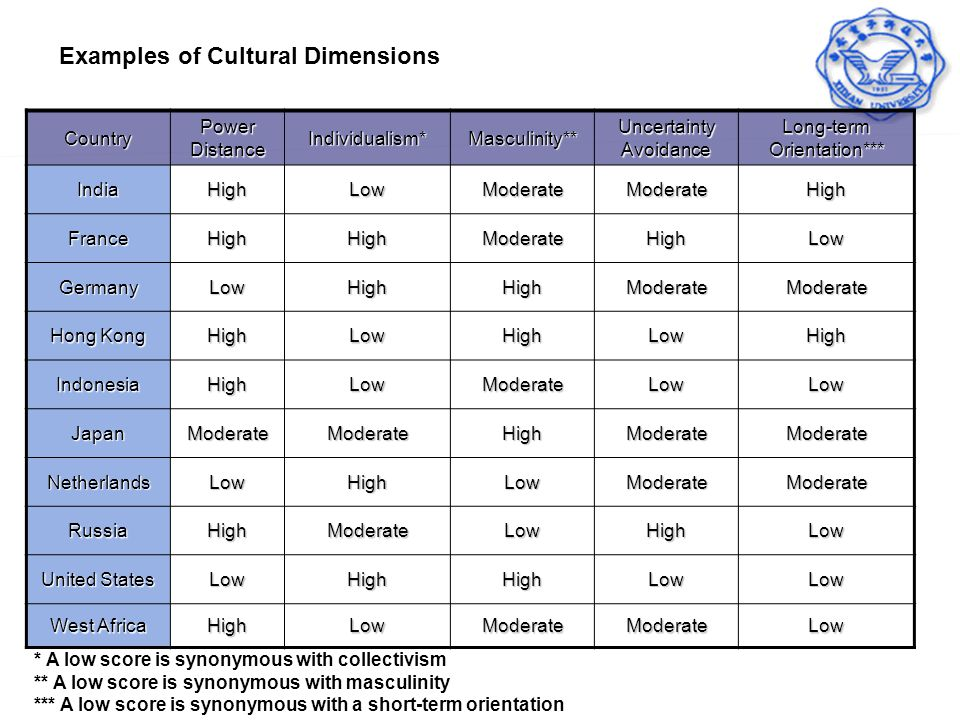 Examples of Cultural Dimensions
