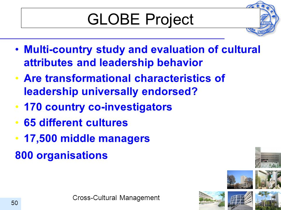 GLOBE Project Multi-country study and evaluation of cultural attributes and leadership behavior.