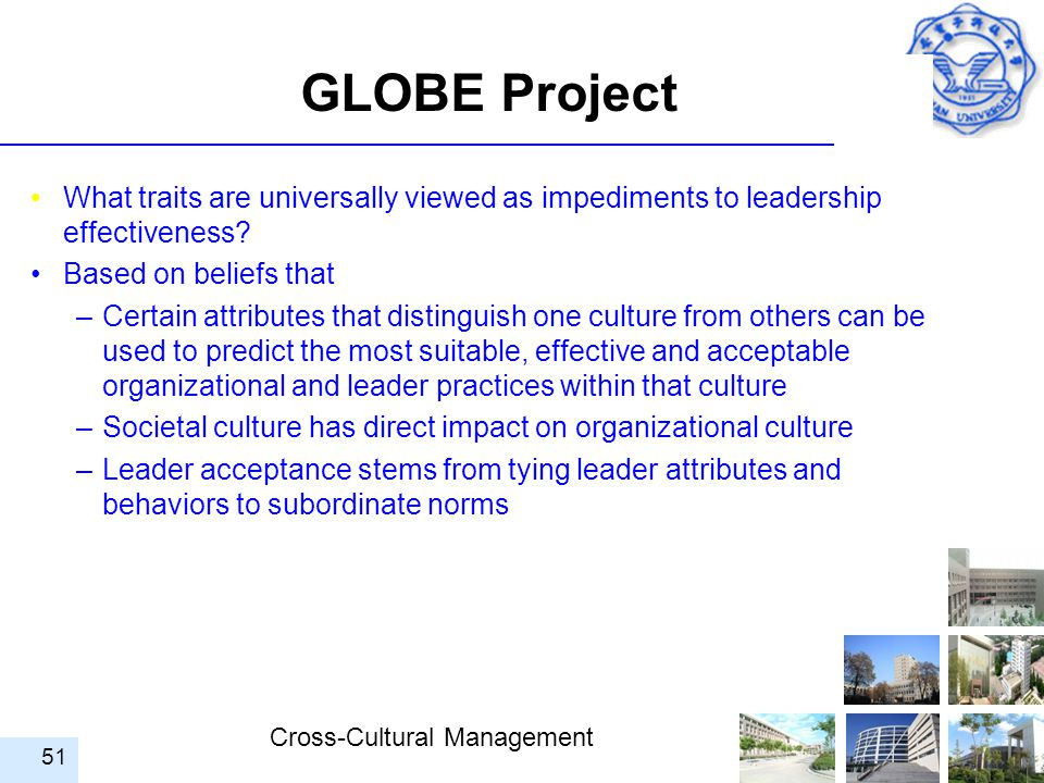 GLOBE Project What traits are universally viewed as impediments to leadership effectiveness Based on beliefs that.