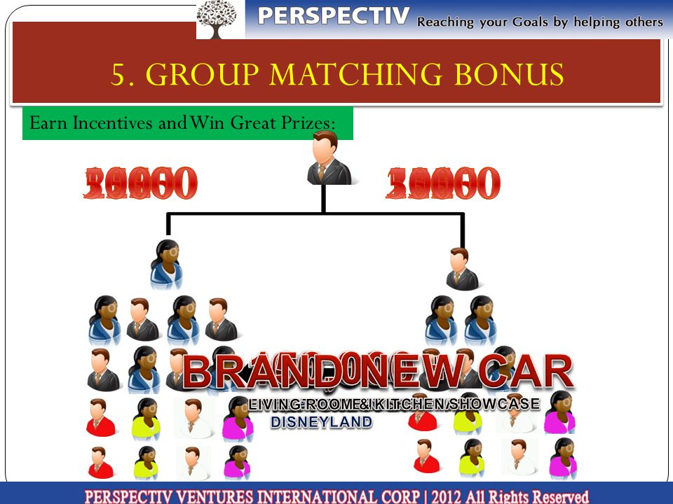 5. GROUP MATCHING BONUS Earn Incentives and Win Great Prizes: