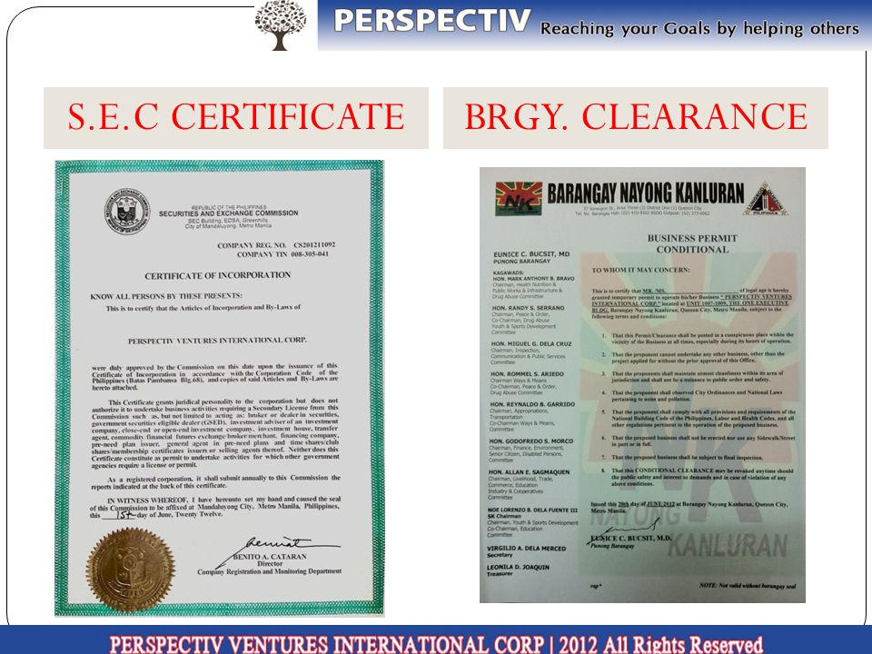 S.E.C CERTIFICATE BRGY. CLEARANCE