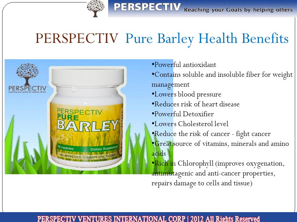 PERSPECTIV Pure Barley Health Benefits