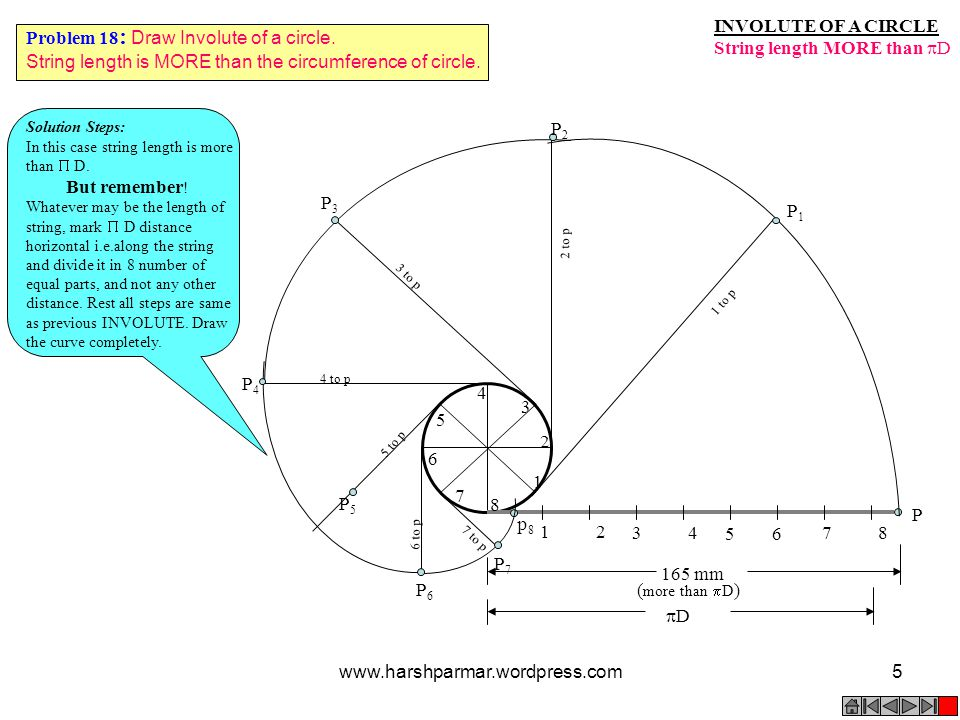 String length MORE than D Problem 18: Draw Involute of a circle.