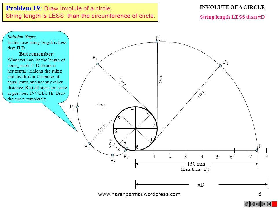 Problem 19: Draw Involute of a circle.