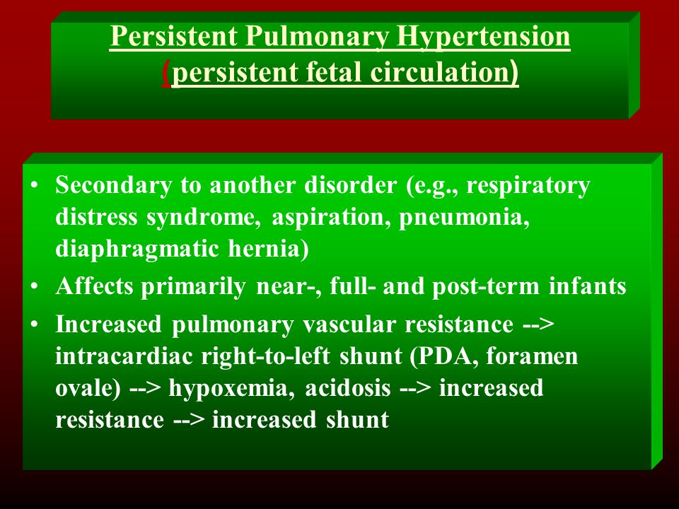 Persistent Pulmonary Hypertension (persistent fetal circulation)