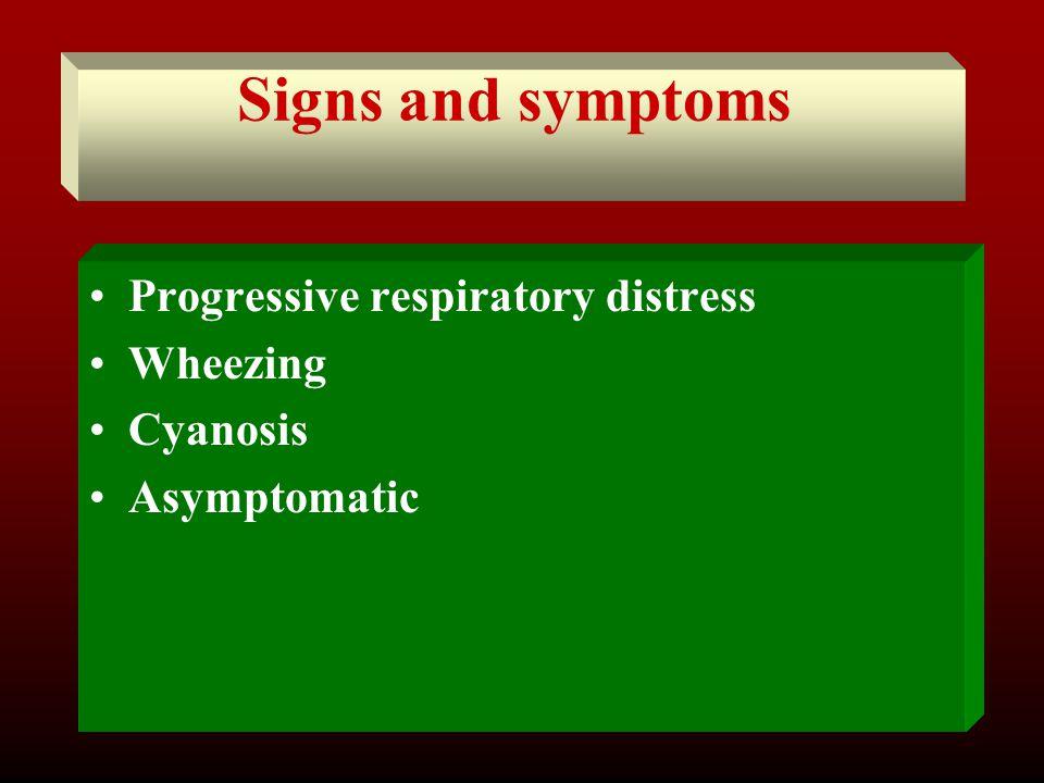 Signs and symptoms Progressive respiratory distress Wheezing Cyanosis