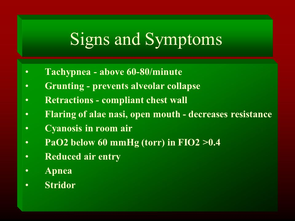 Signs and Symptoms Tachypnea - above 60-80/minute