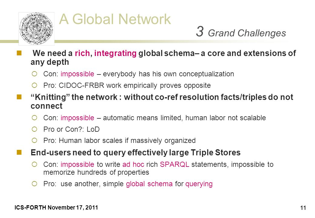 3 Grand Challenges We need a rich, integrating global schema– a core and extensions of any depth.