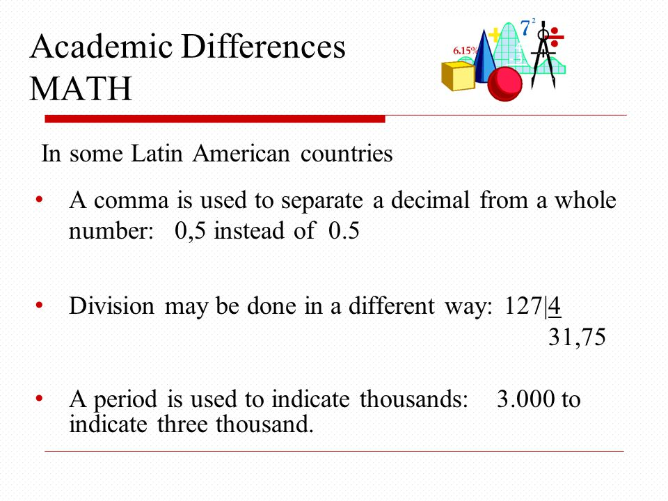 Academic Differences MATH