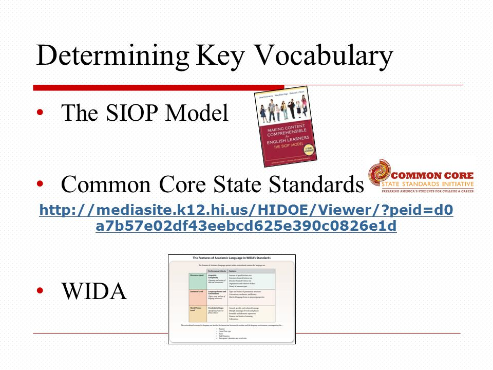 Determining Key Vocabulary