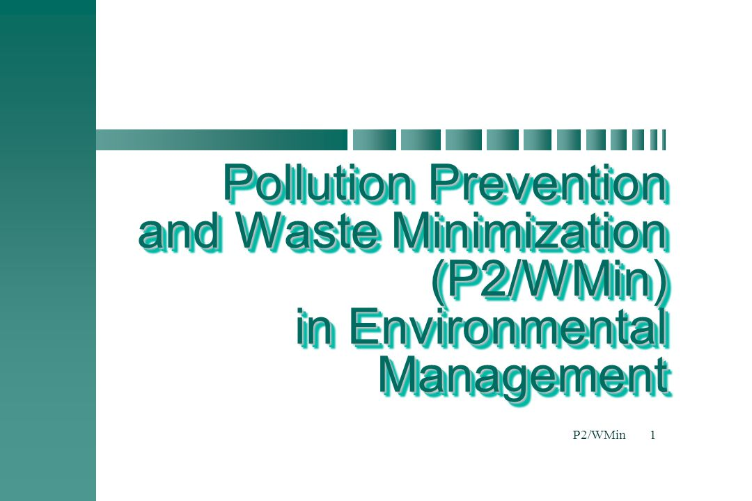 Pollution Prevention and Waste Minimization (P2/WMin) in Environmental Management