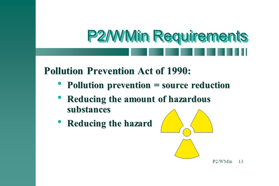 P2/WMin Requirements Pollution Prevention Act of 1990: