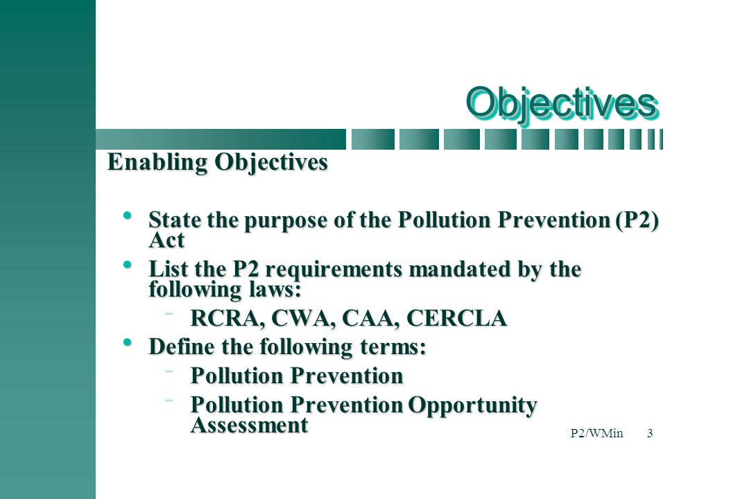 Objectives Enabling Objectives
