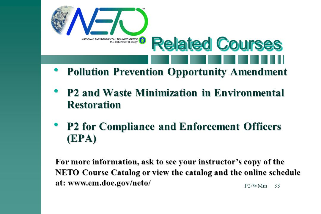 Related Courses Pollution Prevention Opportunity Amendment