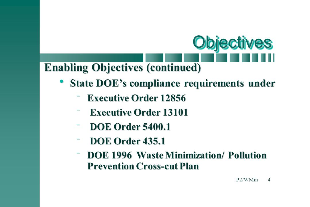 Objectives Enabling Objectives (continued)