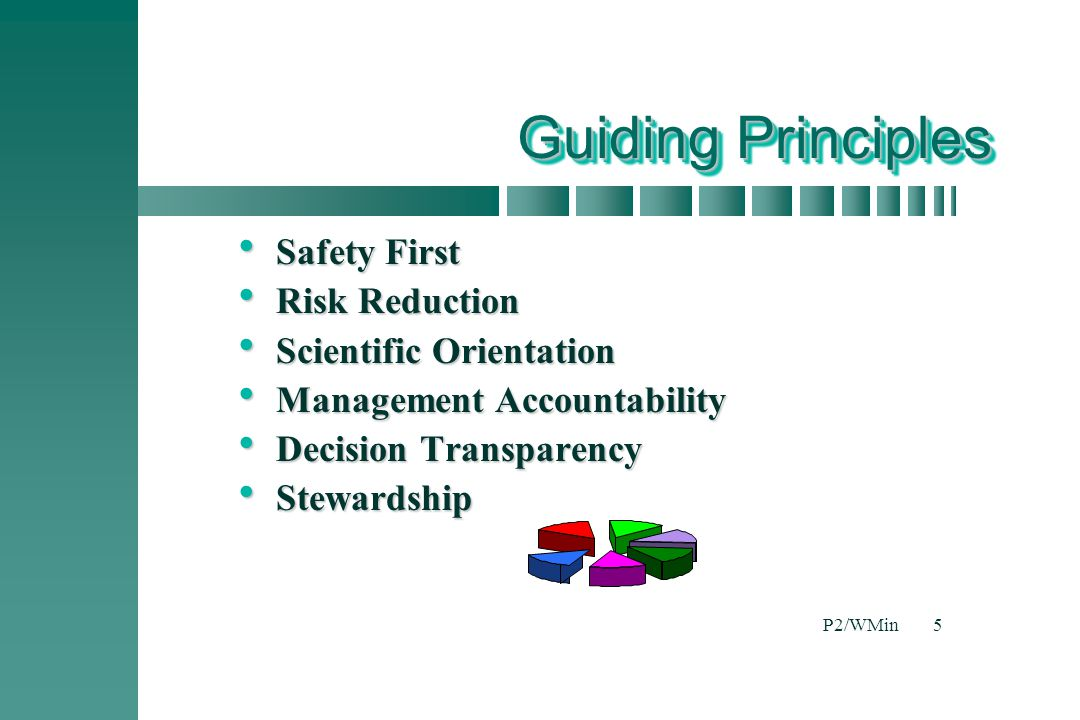 Guiding Principles Safety First Risk Reduction Scientific Orientation