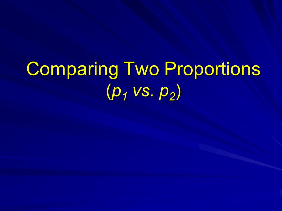 Comparing Two Proportions (p1 vs. p2)