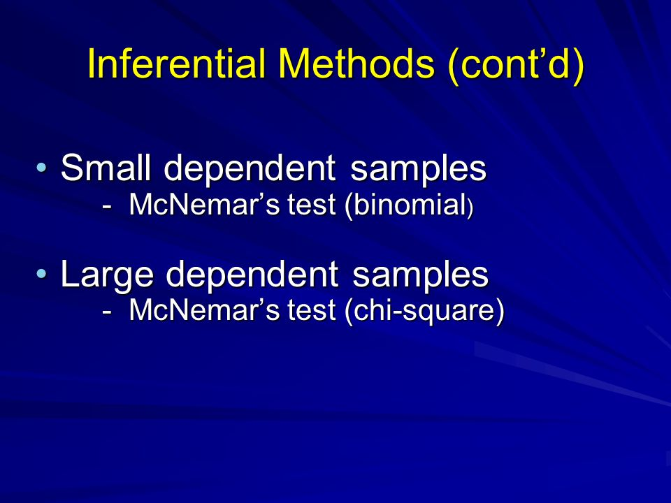 Inferential Methods (cont'd)