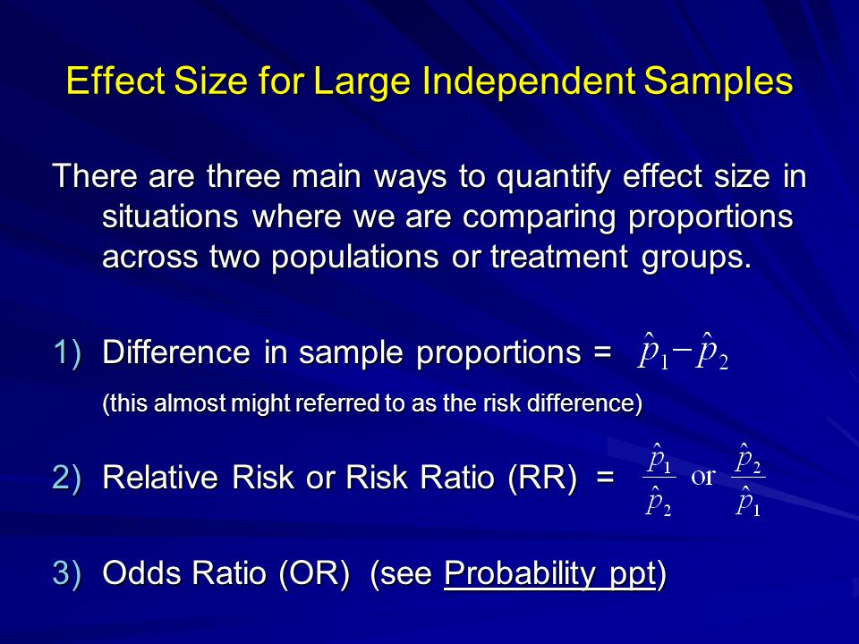 Effect Size for Large Independent Samples