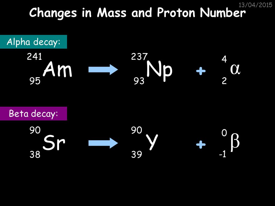 Changes in Mass and Proton Number