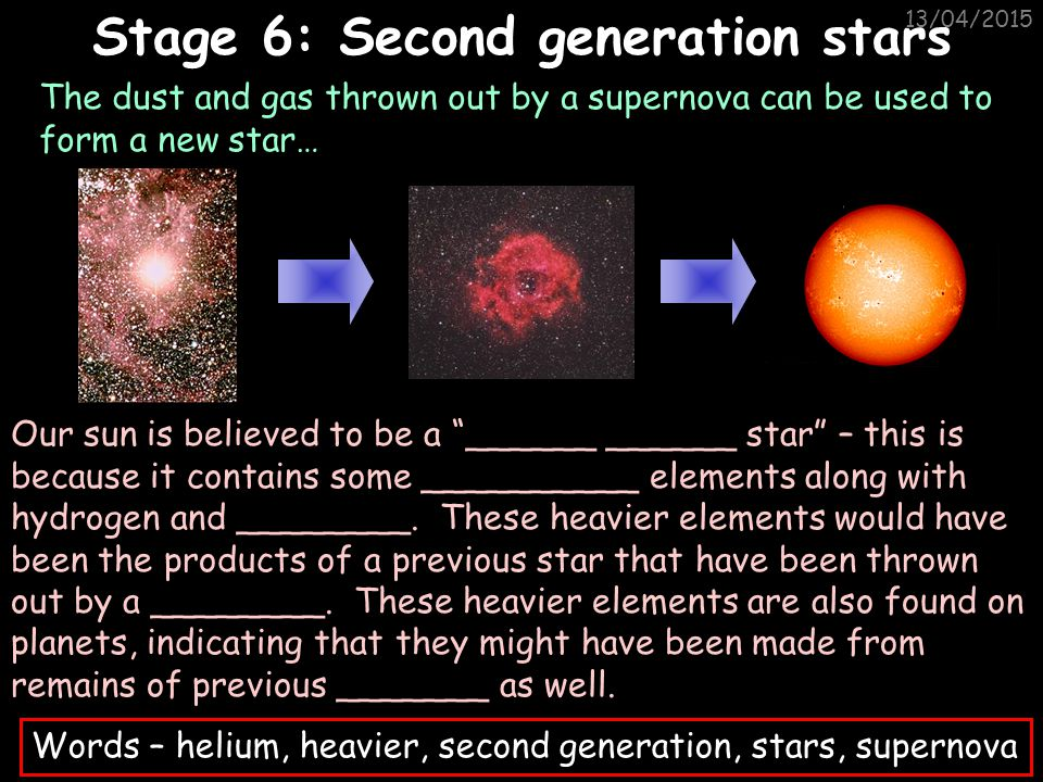 Stage 6: Second generation stars