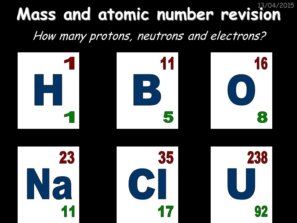 Mass and atomic number revision