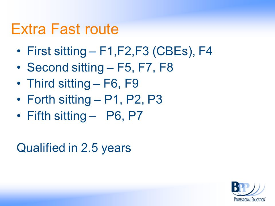 Extra Fast route First sitting – F1,F2,F3 (CBEs), F4