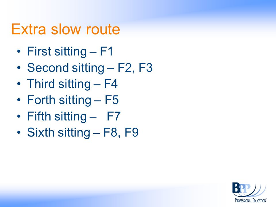 Extra slow route First sitting – F1 Second sitting – F2, F3