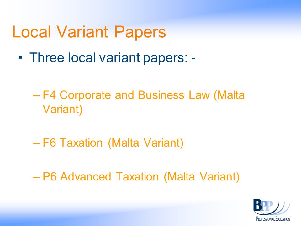 Local Variant Papers Three local variant papers: -