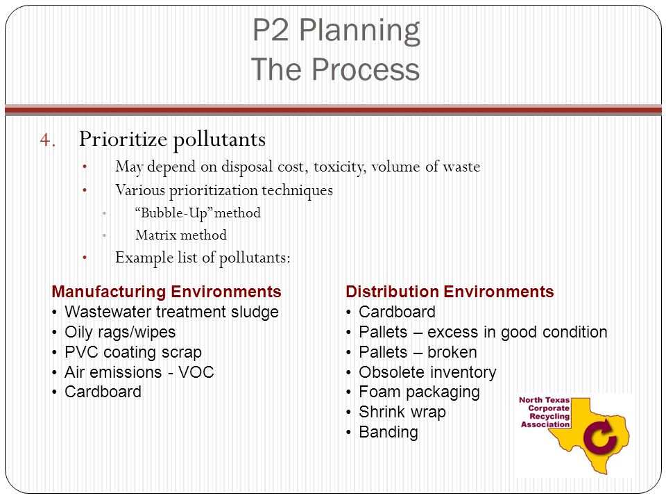 P2 Planning The Process Prioritize pollutants