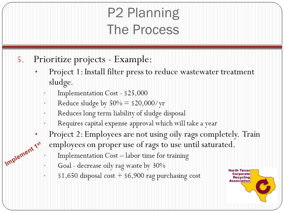 P2 Planning The Process Prioritize projects - Example: