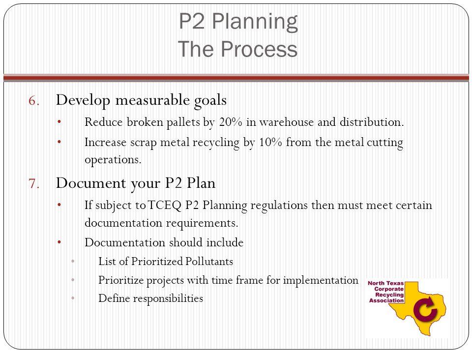 P2 Planning The Process Develop measurable goals Document your P2 Plan