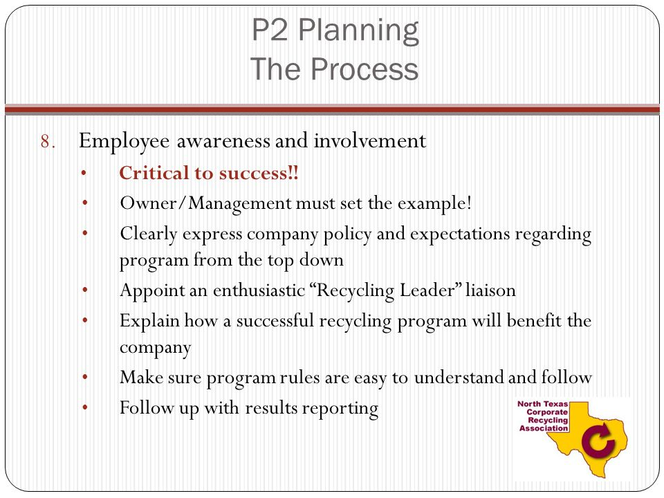 P2 Planning The Process Employee awareness and involvement