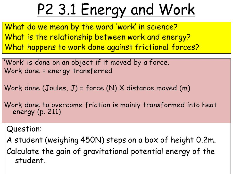 P2 3.1 Energy and Work