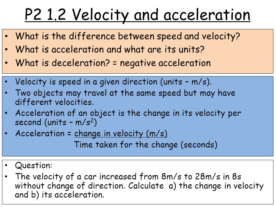 P2 1.2 Velocity and acceleration