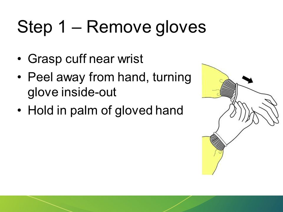 Step 1 – Remove gloves Grasp cuff near wrist