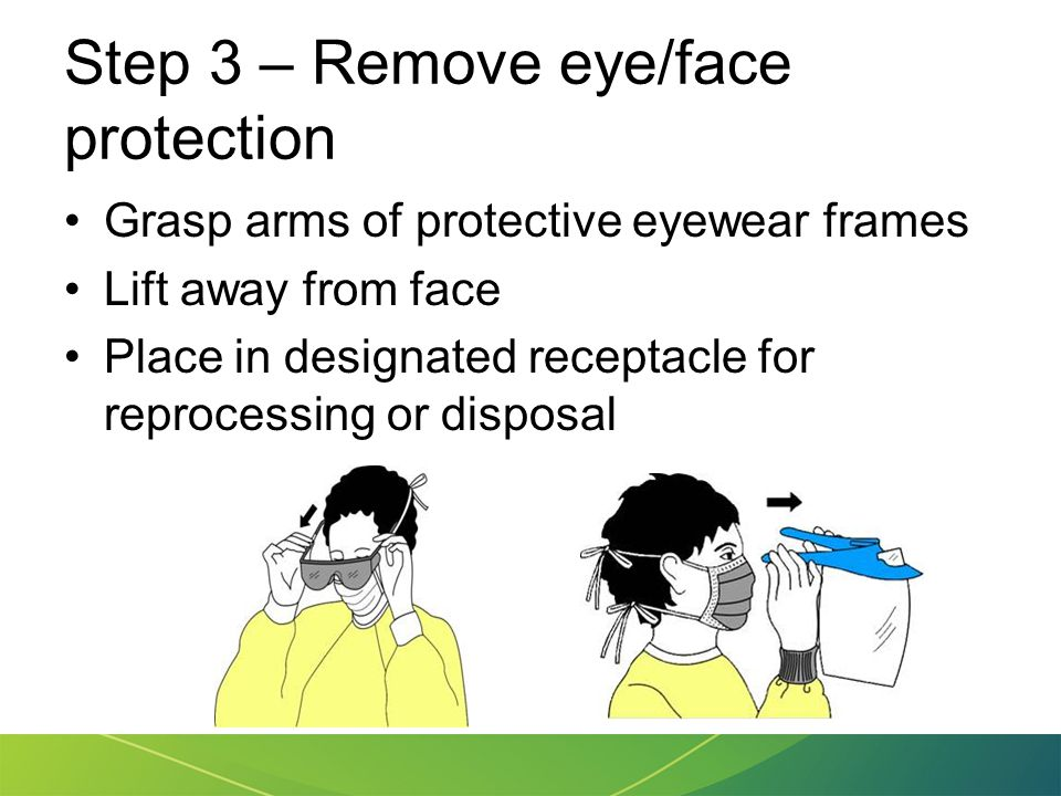 Step 3 – Remove eye/face protection