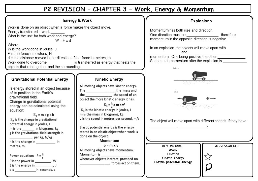 P2 REVISION – CHAPTER 3 – Work, Energy & Momentum