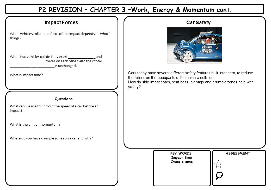 P2 REVISION – CHAPTER 3 –Work, Energy & Momentum cont.