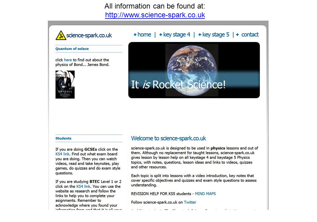 All information can be found at: http://www.science-spark.co.uk