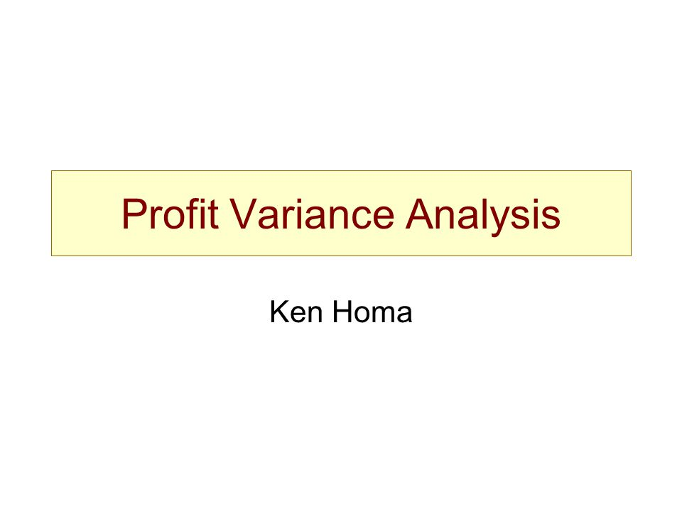 Profit Variance Analysis