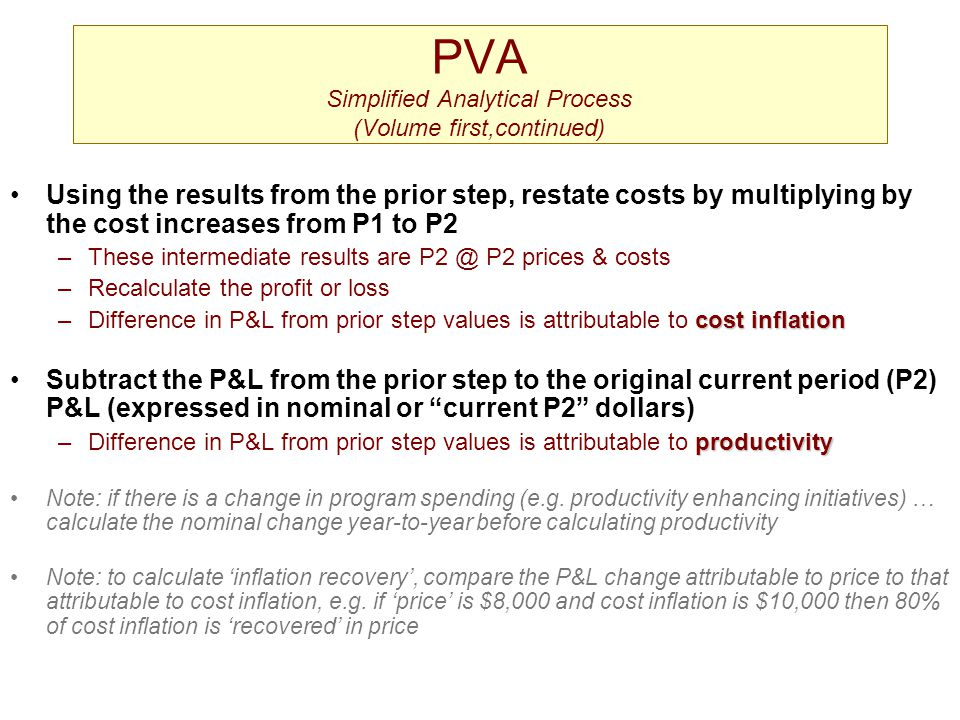 PVA Simplified Analytical Process (Volume first,continued)