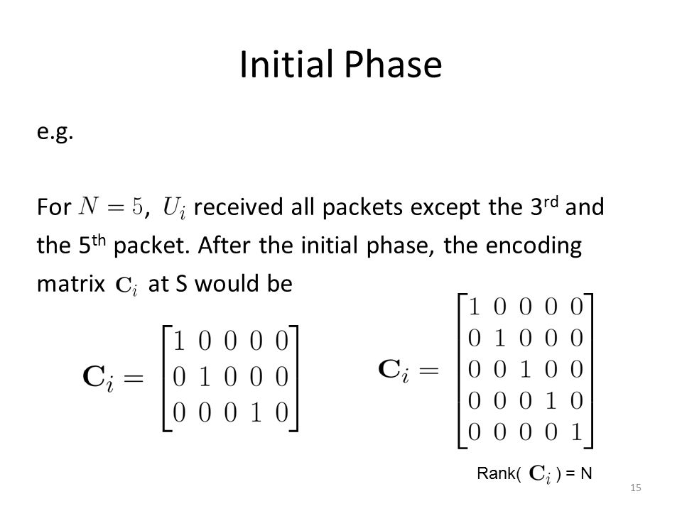Initial Phase e.g. For , received all packets except the 3rd and the 5th packet. After the initial phase, the encoding matrix at S would be