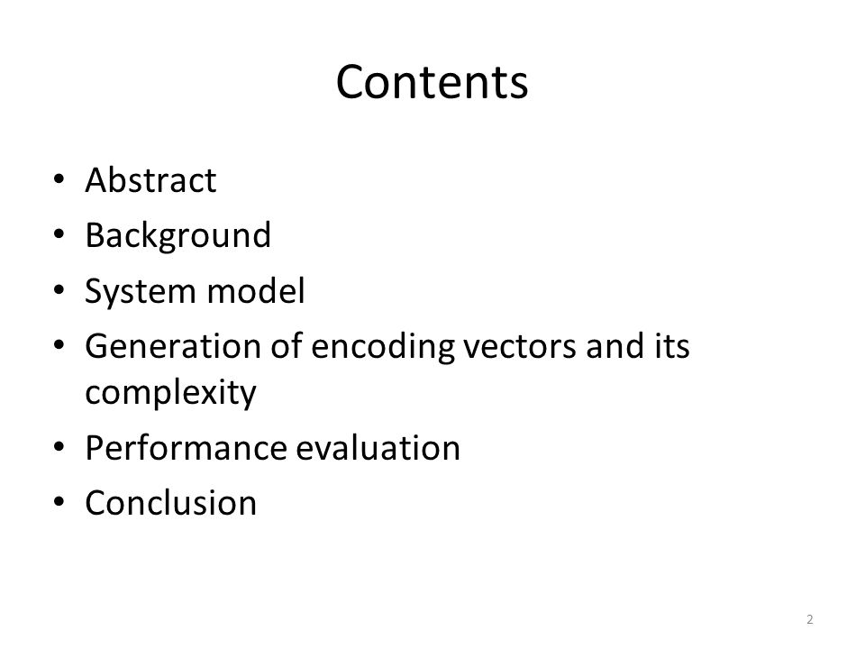 Contents Abstract Background System model