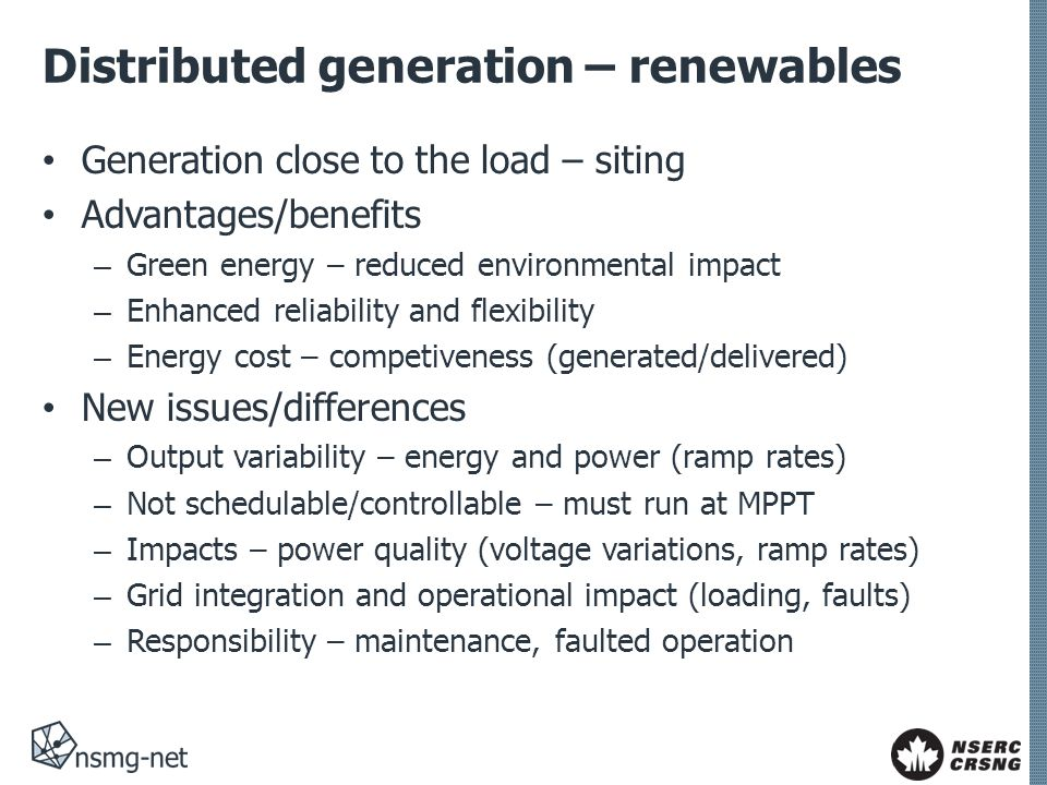 Distributed generation – renewables