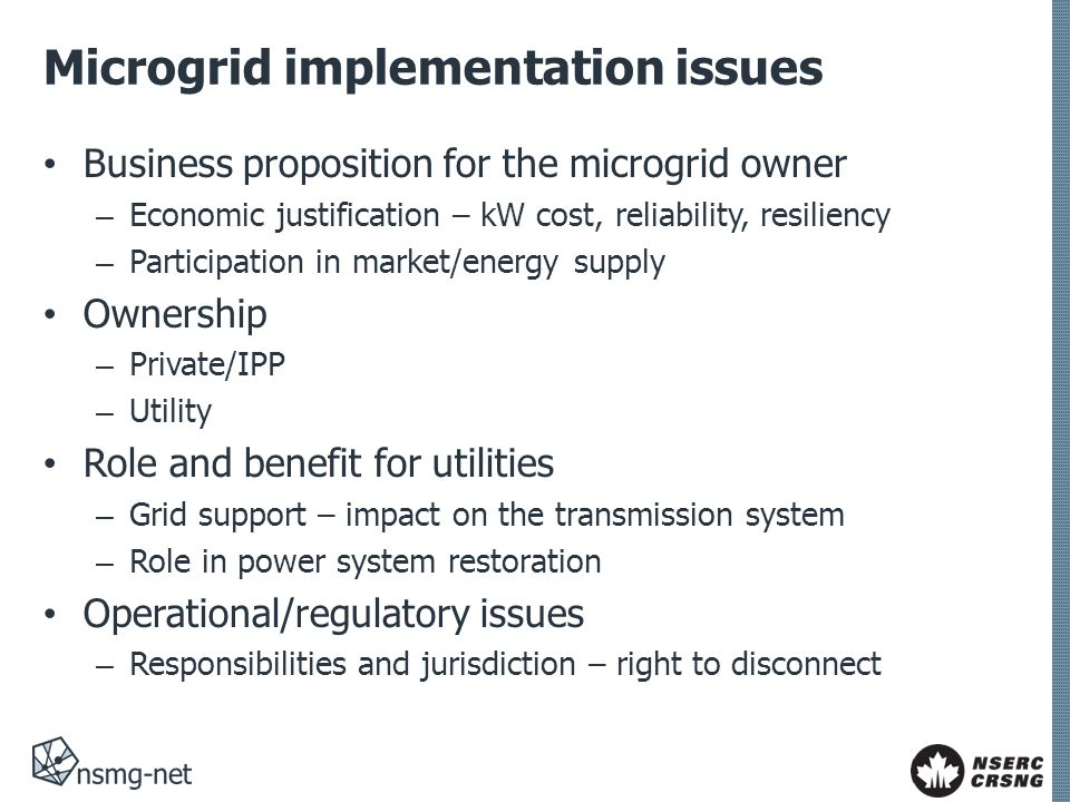 Microgrid implementation issues